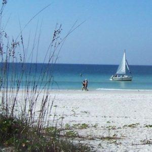 Sailboat on Beach Bamboo Apartments Anna Maria Island, Florida